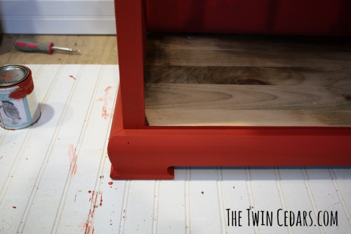 chalk paint antique red progress