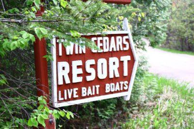 Twin Cedars Resort sign, opening soon for 2017 season